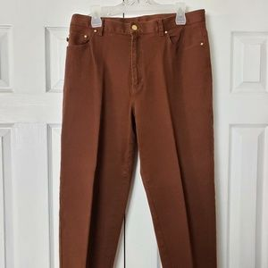 Ralph Lauren Womens Brown Jeans High Rise Size 14